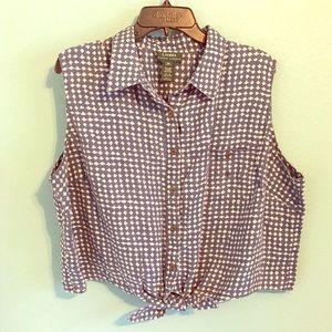 Lauren Ralph Lauren Tie Front Crop Button Up Top